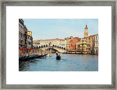 Gondola At The Rialto Framed Print