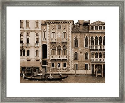Gondola Crossing Grand Canal Framed Print by Donna Corless