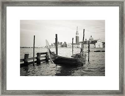 Gondola In Bacino S.marco S Framed Print by Marco Missiaja