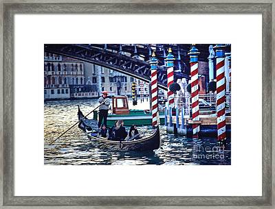 Gondola In Venice On Grand Canal Framed Print by Michael Henderson