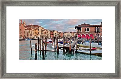 Gondola Mooring Poles Framed Print by Frozen in Time Fine Art Photography