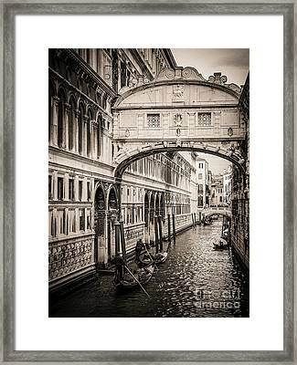 Gondola Passing Under The Bridge Of Sighs, Venice Framed Print by Bernard Jaubert