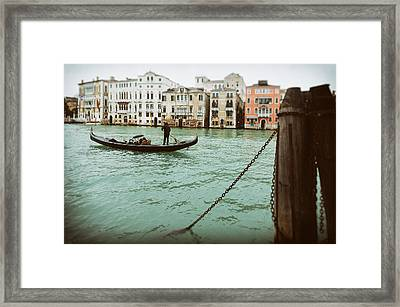 Gondola Ride On A Wet Day Framed Print by Paul Bucknall