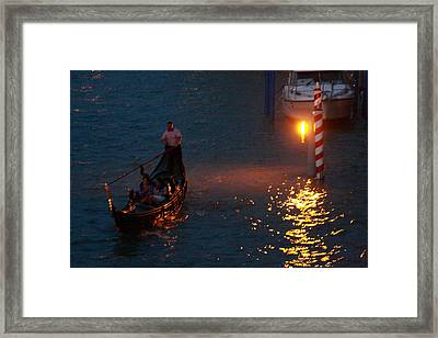 Gondola Ride On Grand Canal At Night Framed Print by Michael Henderson