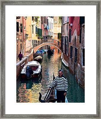 Gondola Ride Through Venice Framed Print by Frozen in Time Fine Art Photography