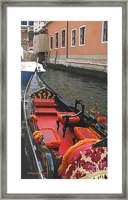 Gondola Rossa Venice Italy Framed Print