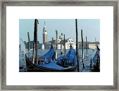 Framed Print featuring the digital art Gondolas Across San Giorgio by Donna Corless