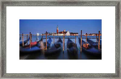 Framed Print featuring the photograph Gondolas And San Giorgio Maggiore At Night - Venice by Barry O Carroll