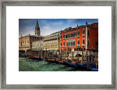 Gondolas At San Marco Framed Print by Andrew Soundarajan
