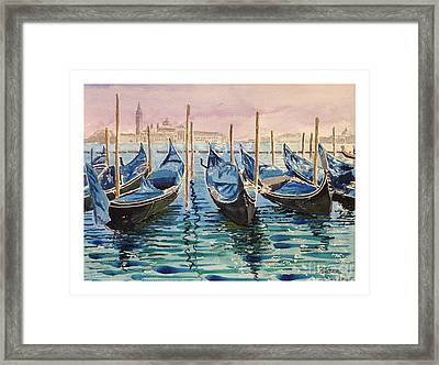 Gondolas At The Pier Venice Framed Print