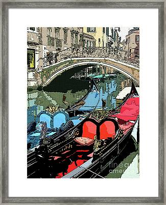 Gondolas Fresco  Framed Print by Mindy Newman