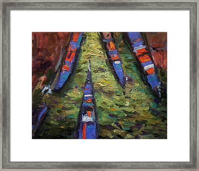 Gondolas From The Bridge Framed Print by R W Goetting