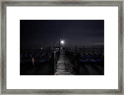 Gondolas In The Night Framed Print