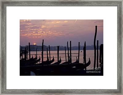 Gondolas In Venice At Sunrise Framed Print by Michael Henderson