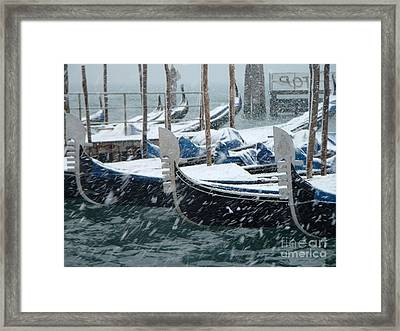 Gondolas In Venice During Snow Storm Framed Print by Michael Henderson