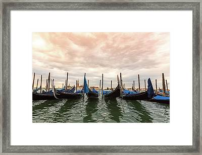 Gondolas In Venice, Italy Framed Print