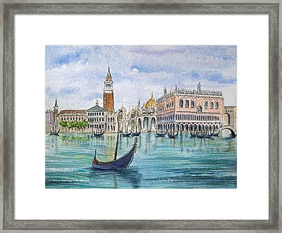 Gondolas Near Piazza San Marco In Venice Italy Framed Print by Bonnie Sue Schwartz