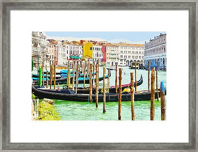 Gondolas On The Grand Canal Venice Italy Framed Print
