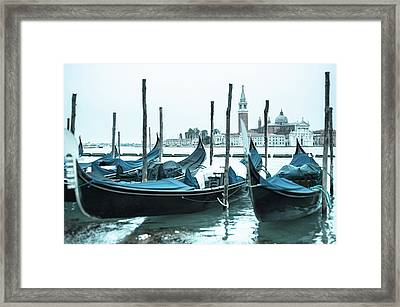 Gondolas On The Venice Lagoon Framed Print