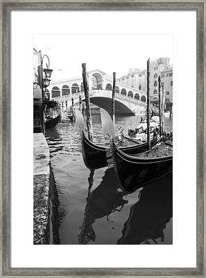 Gondole At Rialto Bridge Framed Print
