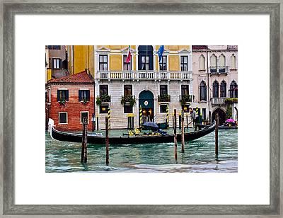 Gondolier At Work Framed Print