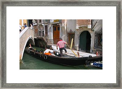 Gondolier By The Bridge- Venice Framed Print
