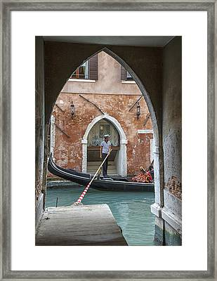 Gondolier In Frame Venice Italy Framed Print