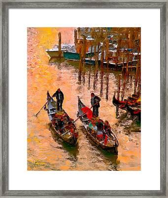 Framed Print featuring the photograph Gondolieri by Juan Carlos Ferro Duque