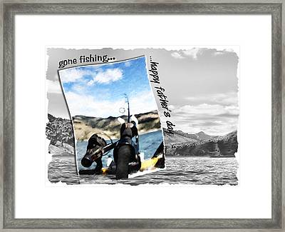 Gone Fishing Father's Day Card Framed Print