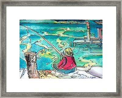 Gone Fishing Framed Print by Mindy Newman