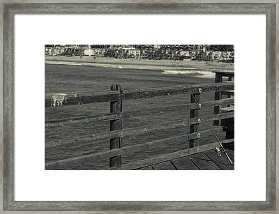 Gone Fishing In Black And White Framed Print