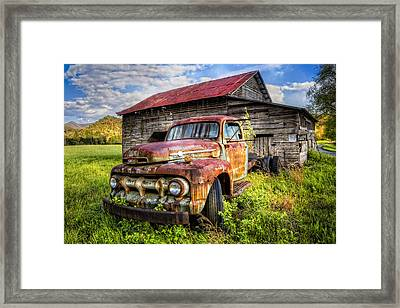 Gone To Pasture Framed Print by Debra and Dave Vanderlaan