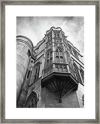 Gonville And Caius College Library Cambridge In Black And White Framed Print by Gill Billington