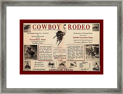 Gonzales Texas County Fair Cowboy Rodeo Bronco Busting 1928 Texas Cowboy Culture Framed Print