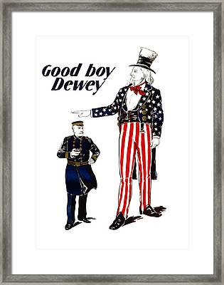 Good Boy Dewey Framed Print by War Is Hell Store