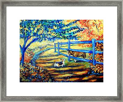 Good Day Greetings - Pembroke Welsh Corgi Framed Print by Lyn Cook
