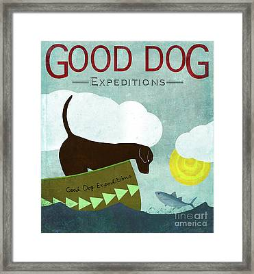 Good Dog Expeditions, Dog On A Lake Meeting A Fish Framed Print