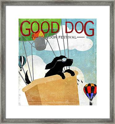 Good Dog Hot Air Balloon Festival Dogs In Flight Framed Print by Tina Lavoie