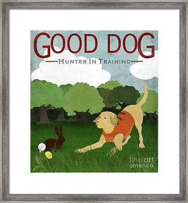 Good Dog Hunter In Training Golden Lab, Bunny Rabbit Framed Print