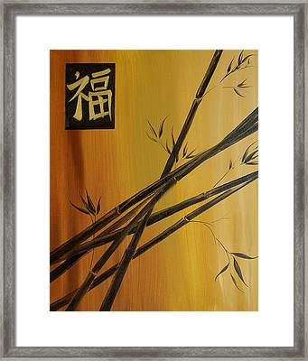 Framed Print featuring the painting Good Fortune Bamboo 1 by Dina Dargo
