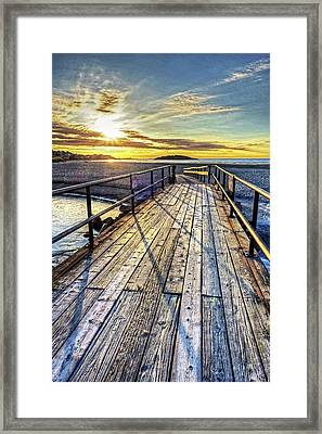 Good Harbor Beach Footbridge Shadows Framed Print