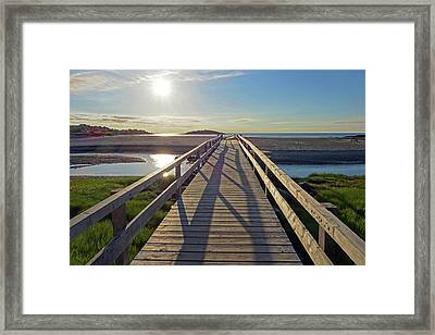 Good Harbor Beach Footbridge Sunny Shadow Framed Print