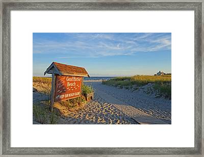 Good Harbor Sign At Sunset Framed Print