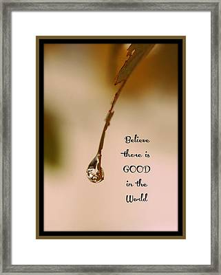 Good In The World Framed Print by Trish Tritz