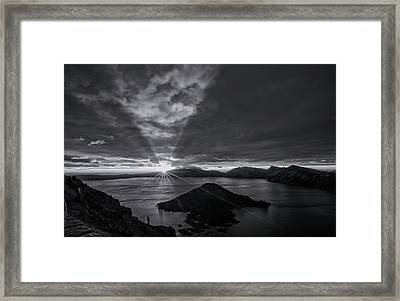 Good Morning Crater Lake -  Black And White Framed Print by Loree Johnson