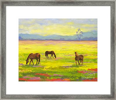 Good Morning Horses Framed Print by Amy Welborn