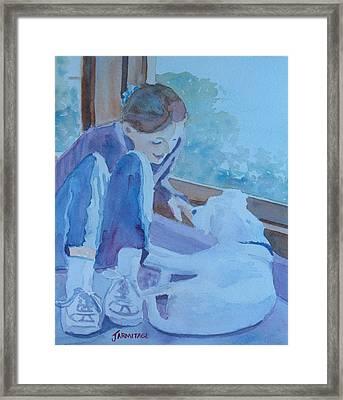 Good Morning Puppy Framed Print by Jenny Armitage