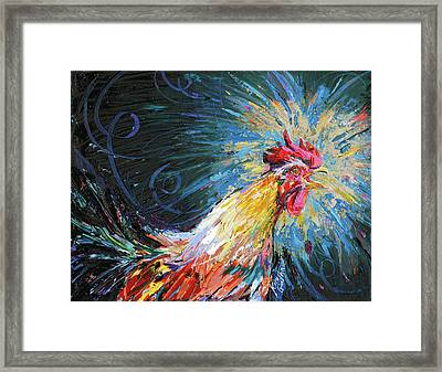 Good Morning Rooster Oil Painting By Kim Guthrie Framed Print