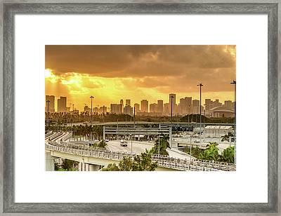 Miami City Sunrise Framed Print