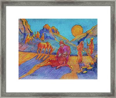 Good Samaritan Parable Painting Bertram Poole Framed Print by Thomas Bertram POOLE
